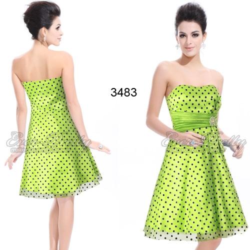 Зелёное платье в черный горошек