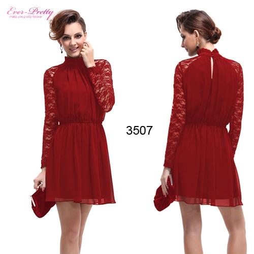 Красное платье с кружевным рукавом