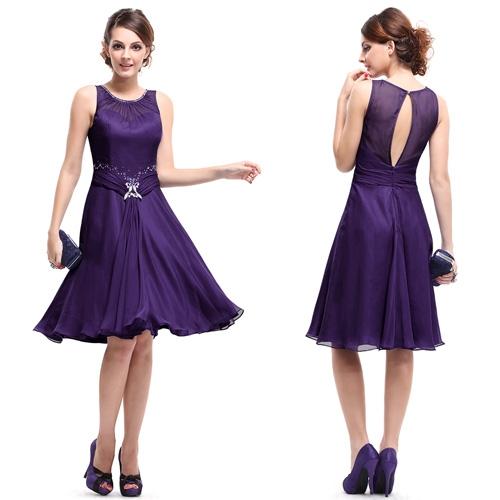 Фиолетовое коктейльное платье с блестками