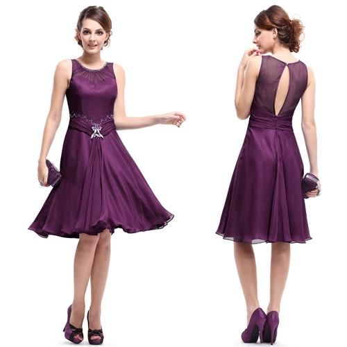 Пурпурное коктейльное платье с блестками