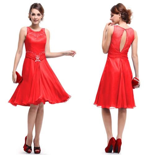 Красное коктейльное платье с блестками