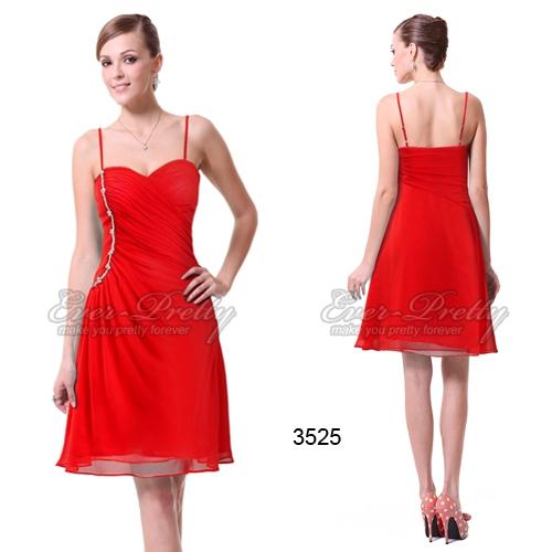 Красное коктейльное платье с оборками