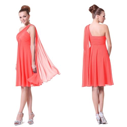 Коралловое платье с оригинальной бретелью