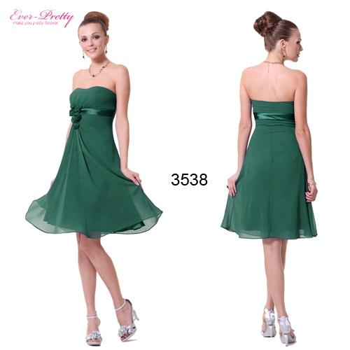 Зеленое коктейльное платье с цветами