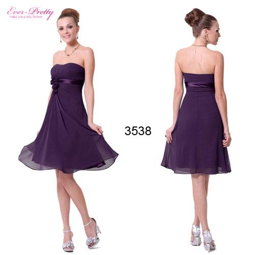 Фиолетовое коктейльное платье с цветами