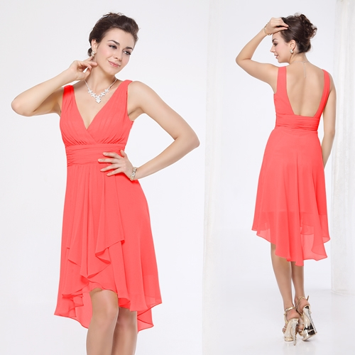 Коралловое шифоновое платье с открытой спиной