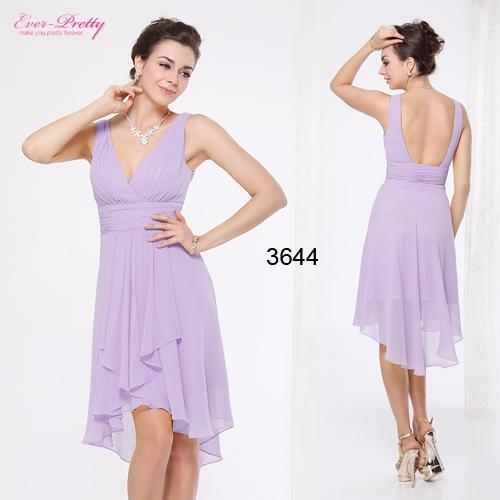 Сиреневое шифоновое платье с открытой спиной