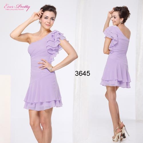 Сиреневое шифоновое платье с оборками