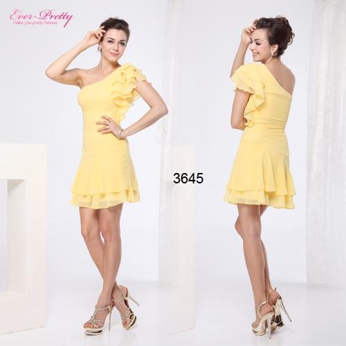 Желтое шифоновое платье с оборками