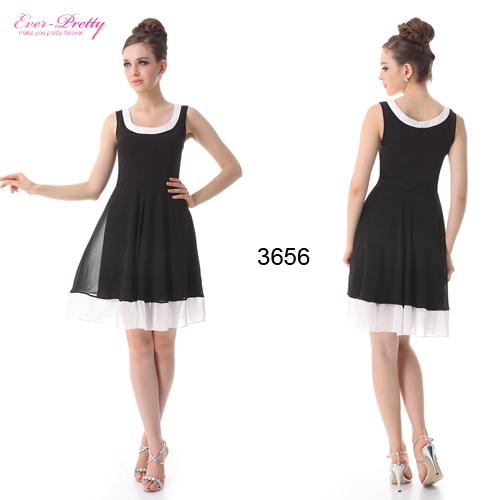 Коктейльное черно-белое шифоновое платье