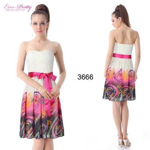 Разноцветное коктейльное платье с поясом