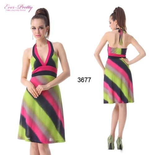 Эластичное летнее платье с ярким принтом