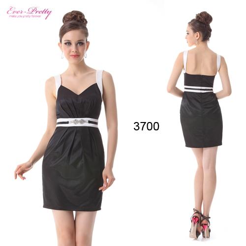 Черно-белое атласное платье со стразами