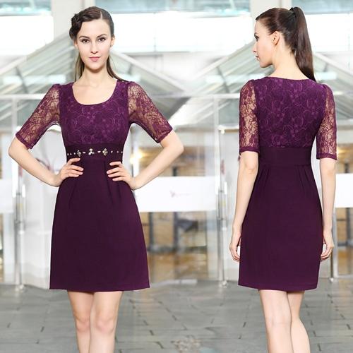 Платье с кружевным рукавом и блестками