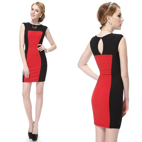 Красно-черное облегающее платье