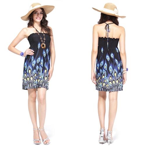 Эластичное летнее платье с ярким притом