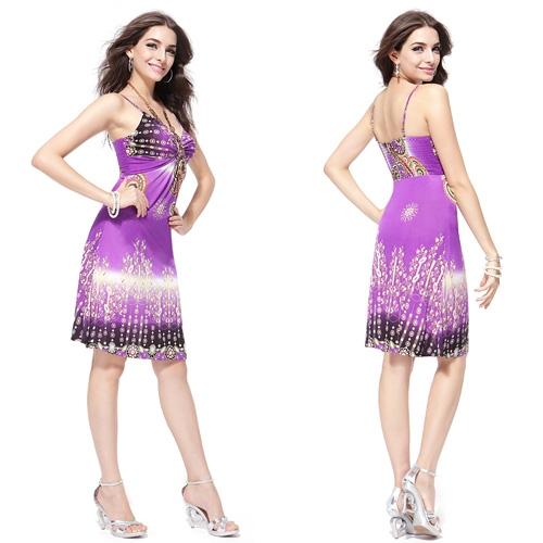 Повседневное пурпурное платье с принтом