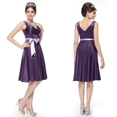 Фиолетовое платье с сиреневым поясом