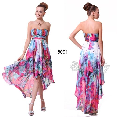 Разноцветное платье с цветочным принтом