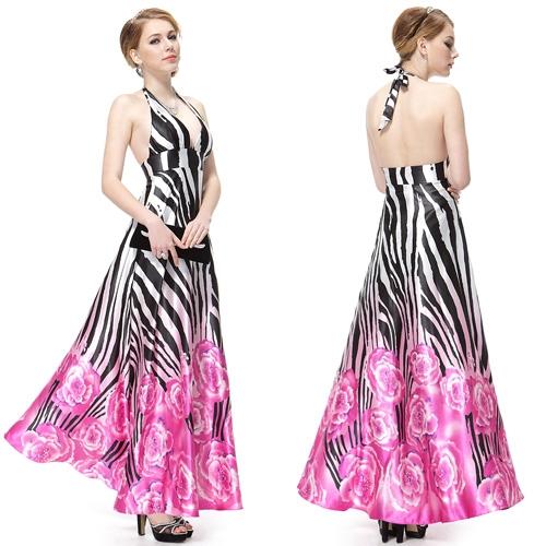 Элегантное платье с полосками и цветами