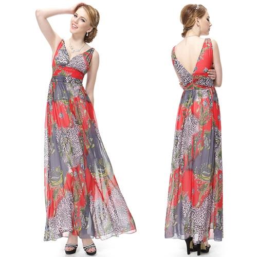 Длинное платье с принтом и V-образным вырезом