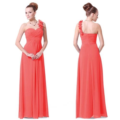 Коралловое платье с цветами на плече