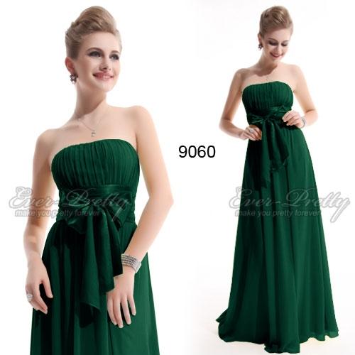 Зелёное вечернее платье без бретелек