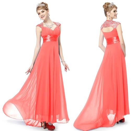 Коралловое вечернее платье с блестками