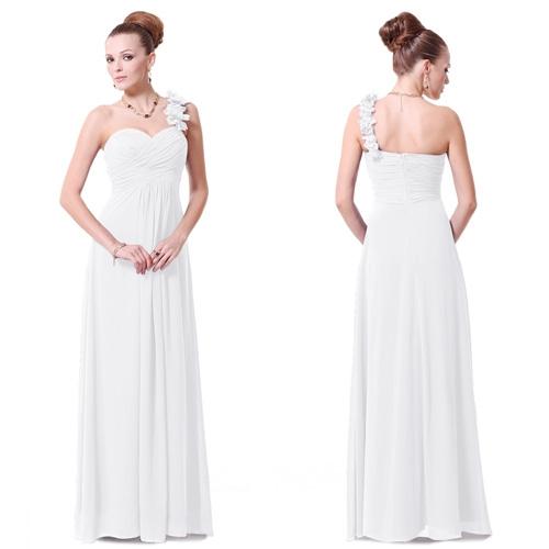 Белое платье на одно плечо