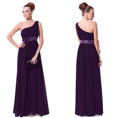 Фиолетовое платье на одно плечо с блестками