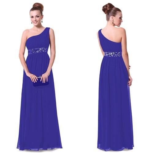 Синее платье на одно плечо с блестками