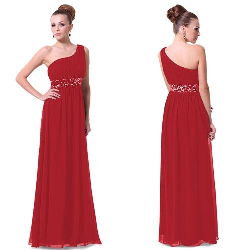 Ярко-красное платье на одно плечо с блестками
