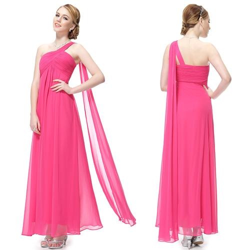 Ярко-розовое вечернее платье на одно плечо