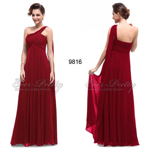 Бордовое вечернее платье на одно плечо