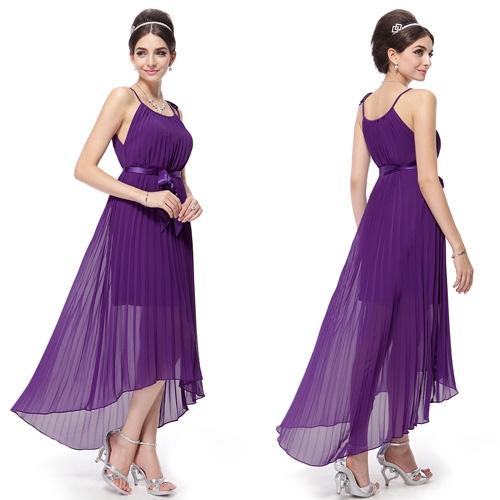 Пурпурное плиссированное платье с поясом