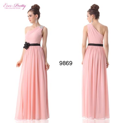 Розовое вечернее платье с черным цветком