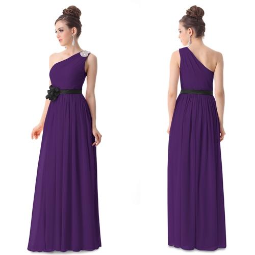 Фиолетовое вечернее платье с черным цветком