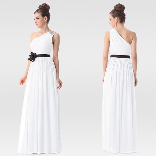 Белое вечернее платье с черным цветком