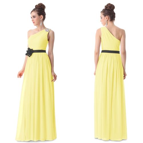 Желтое вечернее платье с черным цветком