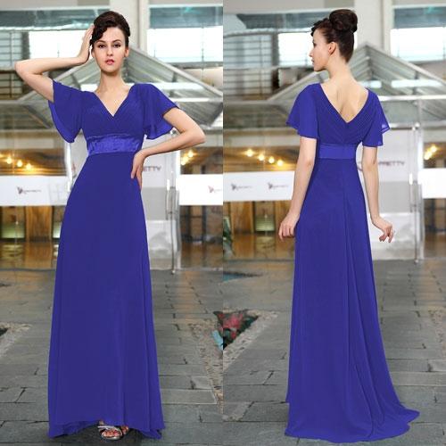 Длинное сапфировое платье с коротким рукавом