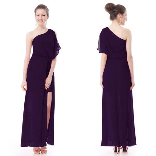 Фиолетовое платье на одно плечо с разрезом