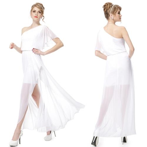 Белое платье на одно плечо с разрезом