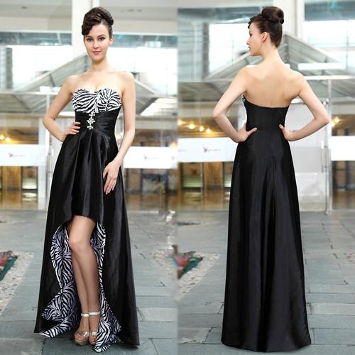 Черное платье с принтом «зебра» и стразами