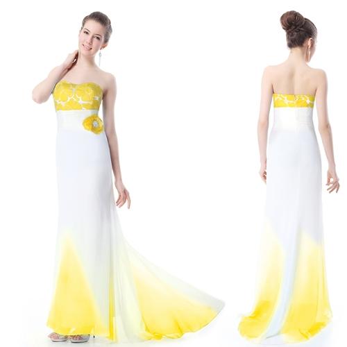 Бело-желтое платье со шлейфом и цветком