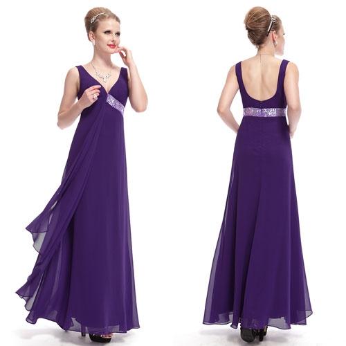 Струящееся фиолетовое платье с блестками