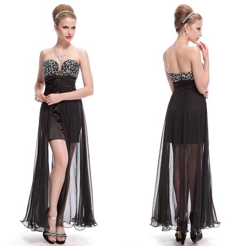 Черное вечернее платье с цветком и блестками