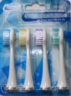 Сменные насадки средней жесткости к зубной щетке HSD-015, -016 (4 шт) белые