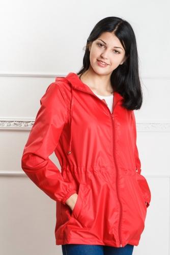 890 990Арт. KG-004 Удлиненная куртка-ветровка с капюшоном,цвет-красный
