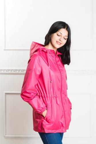 Арт. KG-004 Удлиненная куртка-ветровка с капюшоном,цвет-темно-розовый