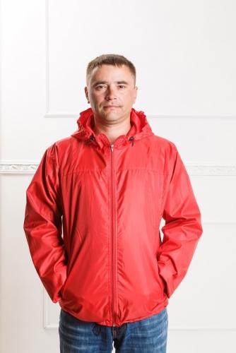 Арт. KMК. Мужская куртка-ветровка с капюшоном.цвет-красный